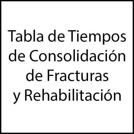 Tabla de tiempos de consolidación de fracturas