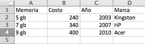 Base de datos Excel