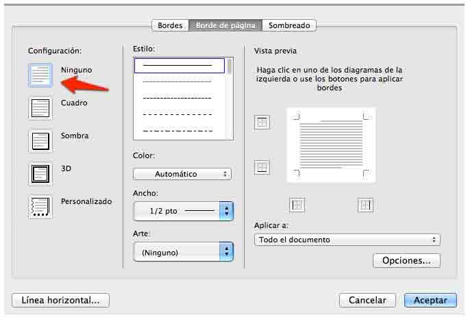 Cómo quitar la línea horizontal automática en Word.