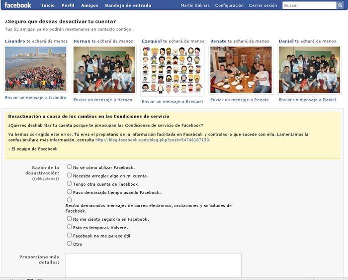 Página para desactivar la cuenta de Facebook
