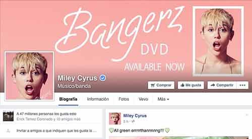 Visita la página de Facebook de Miley Cyrus