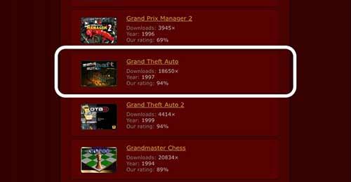 """Busca el juego """"Grand Theft Auto"""""""