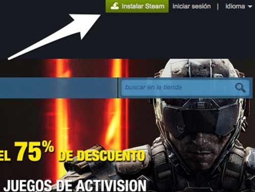 """Haz clic en el botón verde que dice """"Instalar Steam"""""""