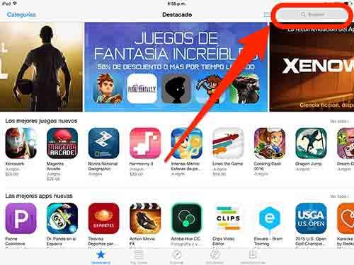 Busca la versión para iPad del juego que quieres