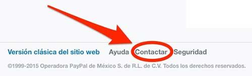 Dirígete a la página de contacto