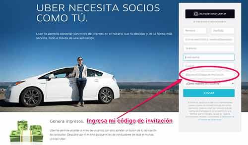 Abre una cuenta en Uber.
