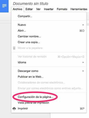 """Selecciona la opción """"Configuración de la página…"""""""