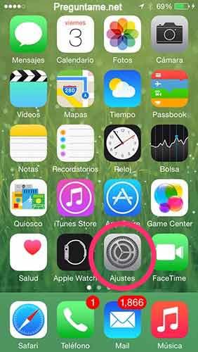 Accede a los ajustes de tu iPhone