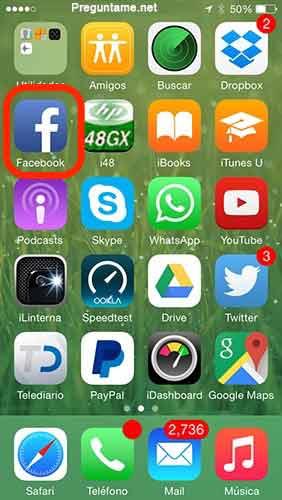 Abre la aplicación de Facebook