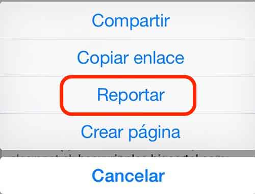 "Haz clic en ""Reportar"""
